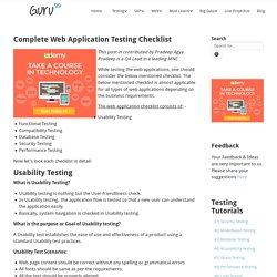 Complete Web Application Testing Checklist