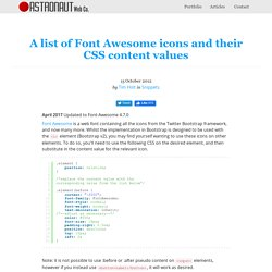 Complete list of Font Awesome icons with their CSS content values