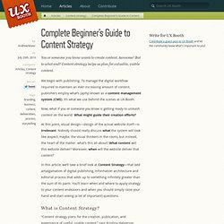 Beginner's Guide to Content Strategy