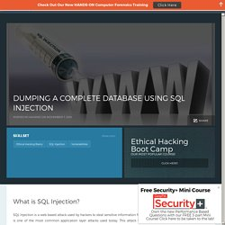 DUMPING A COMPLETE DATABASE USING SQL INJECTION - InfoSec Institute