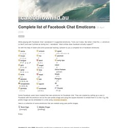 Complete list of Facebook Chat Emoticons | calebbrown.id.au