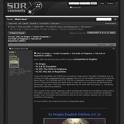 [PC] Ys Origin + Ys1&2 Complete + Ys3 Oath of Felghana + Ys6 Ark of Napishtim (ENG!!)