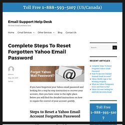 Complete Steps To Reset Forgotten Yahoo Email Password