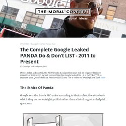 The COMPLETE Google Leaked Panda 4.1 Do & Don't List - Josh Bachynski