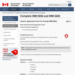 Instructions on forms IMM0008 and IMM5669