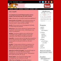 Liste complète - Ligue d'improvisation La Brique de Toulouse