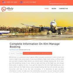 Complete Information: Klm Manage Booking 1888-204-5462
