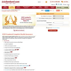Complete Health Insurance Plan Online - Mediclaim Insurance Plan - ICICI Lombard