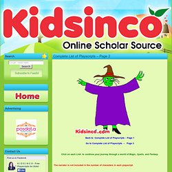 Complete List of Playscripts - Page 2 | K I D S I N CO.com - Free Playscripts for Kids!