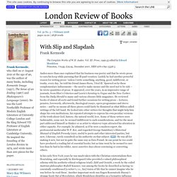 Frank Kermode reviews 'The Complete Works of W.H. Auden. Vol. III' edited by Edward Mendelson · LRB 7 February 2008