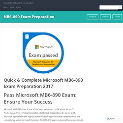 Quick & Complete Microsoft MB6-890 Exam Preparation 2017 – MB6-890 Exam Preparation