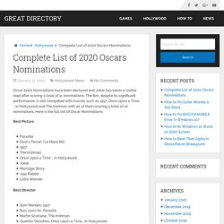 Complete List of 2020 Oscars Nominations – Great Directory