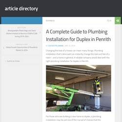 A Complete Guide to Plumbing Installation for Duplex in Penrith