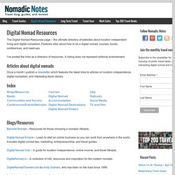 The Digital Nomad Page: A complete resource of location independent and digital nomad websites
