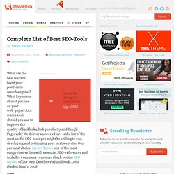 Complete List of Best SEO-Tools - Smashing Magazine