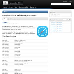 Complete List of iOS User-Agent Strings | Enterprise iOS
