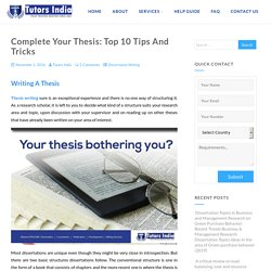 Complete Your Thesis: Top 10 Tips And Tricks