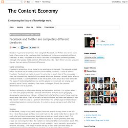 The Content Economy by Oscar Berg: Facebook and Twitter are completely different creatures
