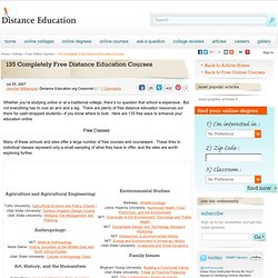 135 Completely Free Distance Education Courses