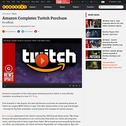 Amazon Completes Twitch Purchase