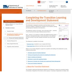 Completing the Transition Learning and Development Statement