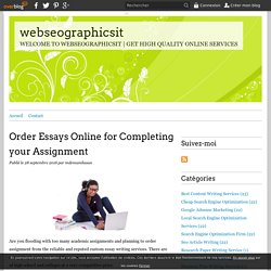 Order Essays Online for Completing your Assignment - webseographicsit