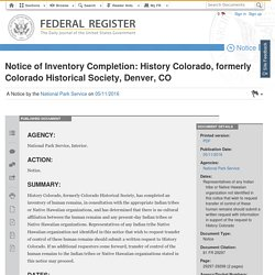 05.11.16 Notice of Inventory Completion: History Colorado, formerly Colorado Historical Society, Denver, CO