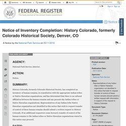 05.11.16 Notice of Inventory Completion: History Colorado, formerly Colorado Historical Society, Denver, CO