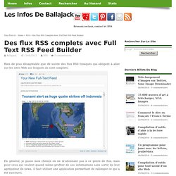 Des flux RSS complets avec Full Text RSS Feed Builder