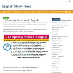 10 Complex Sentences in English - English Study Here