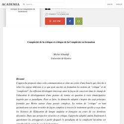 Complexité de la critique et critique de la Complexité en formation