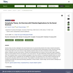 Complexity Theory: An Overview with Potential Applications for the Social Sciences