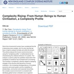 Complexity Rising: From Human Beings to Human Civilization, a Complexity Profile