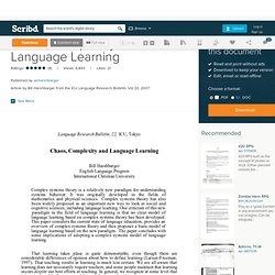 Chaos, Complexity and Language Learning