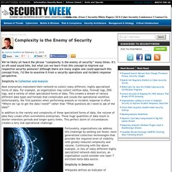 Complexity is the Enemy of Security