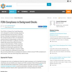 FCRA Compliance in Background Checks