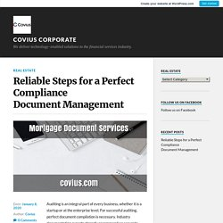 Reliable Steps for a Perfect Compliance Document Management – Covius Corporate