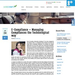 E-Compliance – Managing Compliances the Technological way
