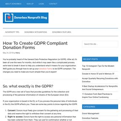 How To Create GDPR Compliant Donation Forms