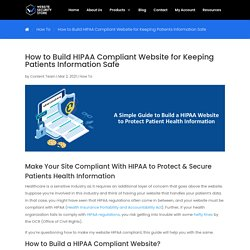 Build HIPAA Compliant Website for Keeping Patients Information Safe
