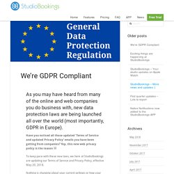 We're GDPR Compliant - StudioBookingsOnline