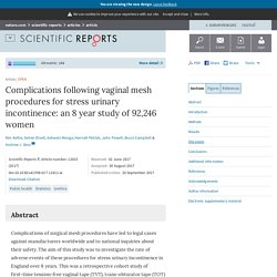 Complications following vaginal mesh procedures for stress urinary incontinence: an 8 year study of 92,246 women