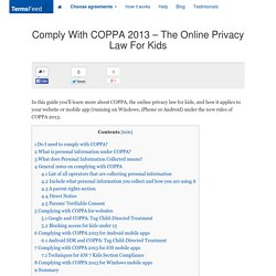 Comply With COPPA 2013 – The Online Privacy Law For Kids - TermsFeed