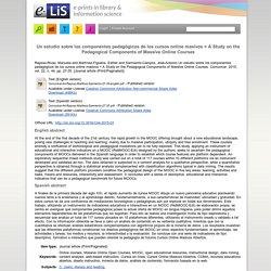 Un estudio sobre los componentes pedagógicos de los cursos online masivos = A Study on the Pedagogical Components of Massive Online Courses