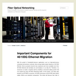Important Components for 40/100G Ethernet Migration