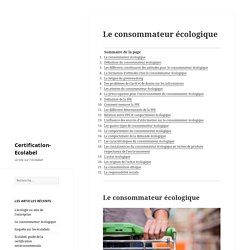 Le comportement du consommateur écologique