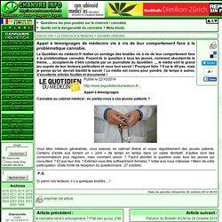 Appel à témoignages de médecins vis à vis de leur comportement face à la problématique cannabis.