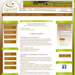 Stages référencés - Equiref, éthologie cheval, poney, mule, âne, éducation comportementale, équitation, entraînement