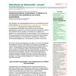 Comportementalisme, Psychanalyse : le débat sur la normalisation