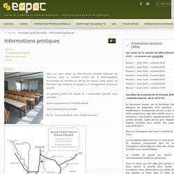 Informations pratiques - EAPAC - Formation de comportementaliste-médiateur pour animaux de compagnie